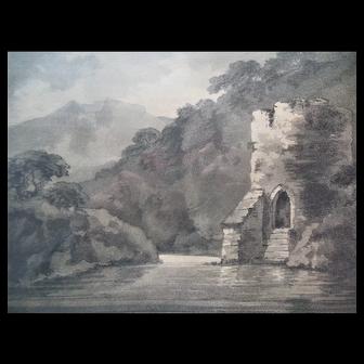 Antique 1794 Alken Romantic Aquatint Etching Rev.Gilpin Drawing Rich Impression