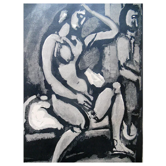 1930 French Nude Female Wood Engraving Sainte Pute Georges Rouault Matisse Style