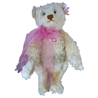 """Vintage Steiff White Butterfly Teddy Bear 14"""" with Tag"""