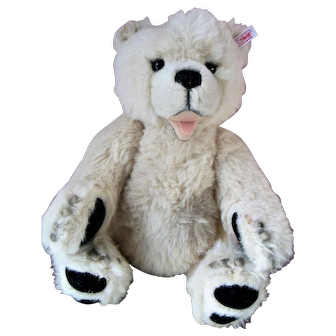"""Vintage 18"""" Steiff White Teddy Bear with Growler Claws Tongue"""