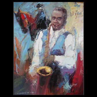 Black Americana Trumpet Brass Jazz Musician Equestrian Horse Dong Xi Painting
