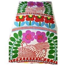 1976 Marimekko KUJA Fabric Chicken Flowers Hearts Mural Mid Century Wall Hanging