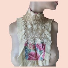 Antique Edwardian Lace Water Silk Collar Bib Blouse