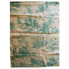 Antique Toile Linen Fabric Yardage excellent condition