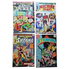 Marvel DC Comic Book Mighty Thor Satana Starfire Machine Man 1970s Lot (4)