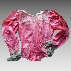 Antique Edwardian Pink Lace Trim Walking Tea Dress Blouse & Skirt