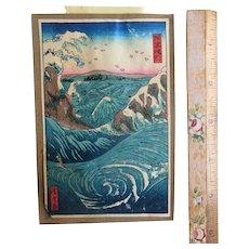 Antique Hiroshige Japanese Naruto Whirlpool Woodblock Print