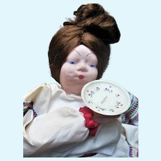 """Vintage Russian Cloth Tea Cozy 23"""" Doll with 1930s Paper Label"""