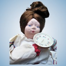 "Vintage Russian Cloth Tea Cozy 23"" Doll with 1930s Paper Label"