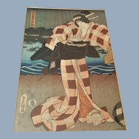 Antique Japanese Geisha Woodblock Meiji Era Print