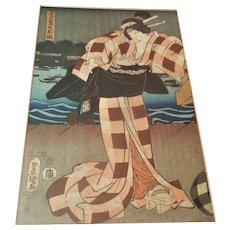 Antique Japanese Geisha Woodblock Meiji Era Print