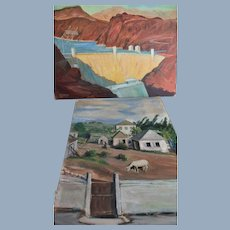 Paul Hollister Pastoral Sheep & Boulder Hoover Dam (2) Paintings sgnd dated 1946