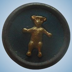 Antique Teddy Bear Metal Sewing Button