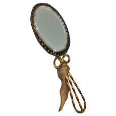 Antique Fashion Doll Hand Mirror with Beveled Glass & Fancy Metal Handle