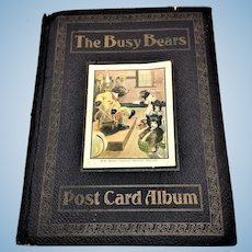 Antique The Busy Bears Roosevelt Steiff Like Teddy Bear Postcard Album