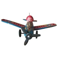 Vintage Tin Friction Airplane Toy with Celluloid Pilot