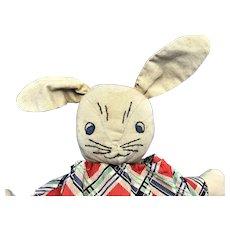 Vintage Folk Art Handmade Cloth Easter Bunny Rabbit Doll