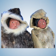 (2) Antique Eskimo Inuit Carved Wood Seal Skin Doll Pair