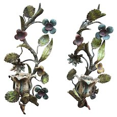 Vintage Italian Metal Candle Holders Wall Sconce Art Nouveau Flower Pair