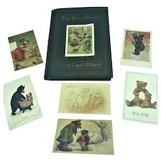 Antique Busy Bears Roosevelt Teddy Bear 6 Postcards & Album