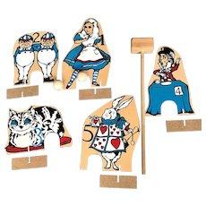 Unusual Vintage Alice in Wonderland Wooden Croquet Set