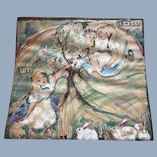 Vintage Alice in Wonderland Original Art Painting by Listed Artist Agnes Porter