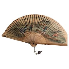 "Antique Large 32"" Chinese Art Landscape Hand Fan"