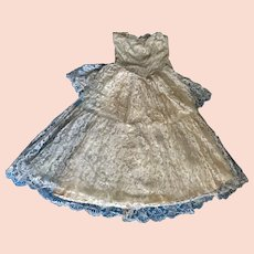 Elegant Vintage 1950s Lace Satin Strapless Cocktail Wedding Prom Gown Dress