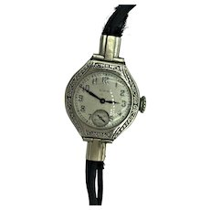 Antique Art Deco Elgin 14K White Gold Ladies Watch with Original Band