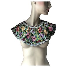 """Vintage Colorful Floral Garden Embroidery Shawl Cape Capelet Collar 6"""" Wide"""