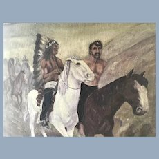 Antique Native American Indian Oil Painting with White Man Captive