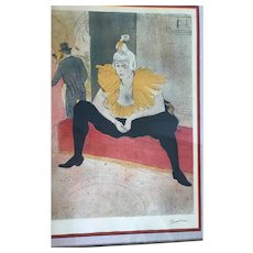 Old Toulouse-Lautrec Art Seated Clowness Lithograph Signed & Numbered with COA