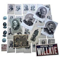 35 Antique Political President Lincoln Washington Willkie Trade Card etc Lot