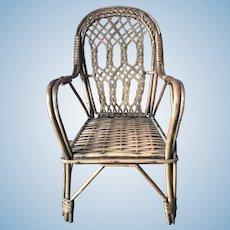 Antique Ornate Wicker Doll Chair Furniture original perfect condition