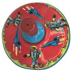 Vintage Astronaut Spaceship Rocketship Spaceman Tin Spinning Top Toy