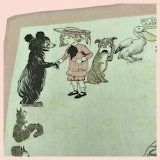 Antique RF Outcault Comic Character Buster Brown Zoo Child Handkerchief