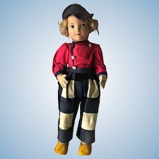 "Old 22"" Vintage Lenci Nora Wellings Cloth Dutch Boy Doll in Original Clothes"