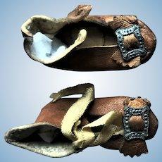Antique Bleuette Leather Doll Shoes