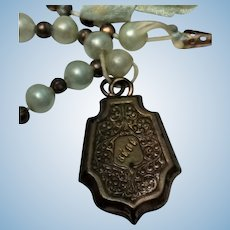 Antique French Fashion Doll Embossed BEBE Medallion Pearl Necklace Jewelry