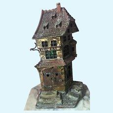 Antique Franz Bergman Cold Painted Bronze Lamp Medieval Cobbler Shop Austria