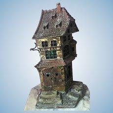 Unusual Antique Cast Iron Dollhouse Stain Glass Window Turret Salesman Sample
