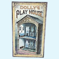 """Antique 21"""" Mcloughlin Bros Lithographed Paper Folding Doll Dollhouse Box"""