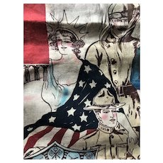 Antique WW1 President Woodrow Wilson Suffragette Army Navy Patriotic Textile