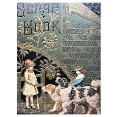 Antique St. Saint Bernard Dog with Children Postcard Scrapbook Cover