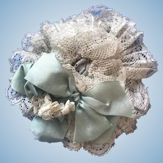 Antique Frilly Lace Ribbon French German Bleuette Doll Hat
