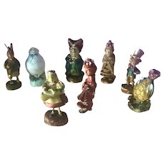 Old 1920s Vintage Painted Chalk Disney Alice in Wonderland Figurine Lot (8)