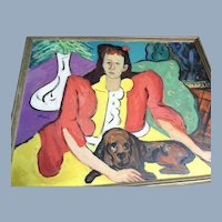American Modern Art Oil Painting Woman with Basset Hound signed Sam Thal