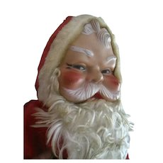 Vintage Red Plush Santa Claus Doll with Vinyl Rubber Face 1950s