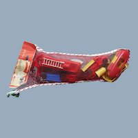 1950s Christmas Stocking w Plastic Toy Cars Trucks Firetruck Boats unopened