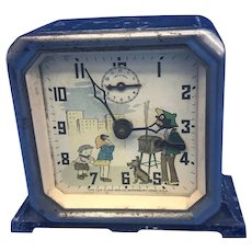 Vintage Lux Black Americana Alarm Clock Animated Peanut Roaster Clock